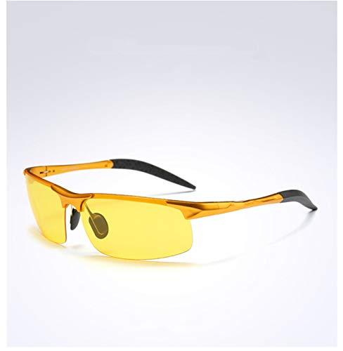 PrittUHU Visión Nocturna Gafas de Sol Gafas de Sol polarizadas para Hombres UV400 Vidrios Marco de Aluminio (Frame Color : Glasses Case, Lenses Color : Gold Frame)