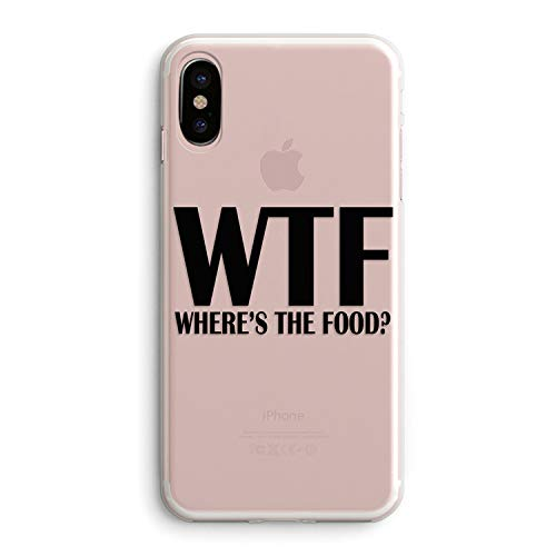 iPhone XR Girls Cute Women Case,Trendy Life Attitude Funny Cute Hipster Sassy Quotes Black WTF Where is The Food Funny Stuff for Teens Teenager Clear Rubber Case Compatible for iPhone XR