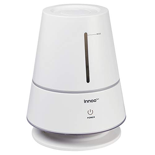 Innoo Tech Cool Mist Humidifier, 2L Ultrasonic Humidifier with Table Lamp Design for Baby Bedroom Home, Whisper-Quiet Operation, Auto Shut-Off, Adjustable Mist Output, Last Up to 12 Hours