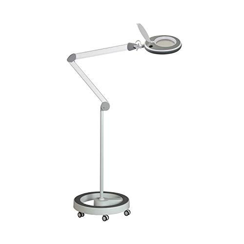 Lumeno 821X grau LED Lupenleuchte Arbeitsplatzleuchte Kosmetiklampe einstellbare Helligkeitsstufen kristallklare Glaslinse Lesehilfe/Lupe wahlweise mit Stativ 3 mit Rollstativ