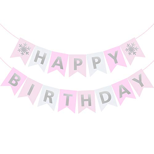 Pink Snowflake Happy Birthday Banner Winter Wonderland Party Supplies Silver Sparkle Letters Garland for Girls Princess Decoration