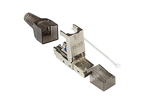 Good Connections Wentronic - Conector de red (cat. 6 A, 500 MHz, 10 Gigabit, sin herramientas, conector RJ45 para cables de conexión, apantallado, STP, metal)