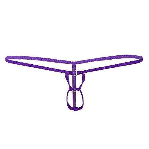 renvena Herren Strings Tanga Elastische Jockstrap Low Rise Briefs mit Zwei Penis Loch Mini Micro Bikini Slip Ouvert-Panties Unterwäsche Violett One Size