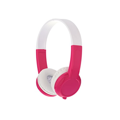 BuddyPhones Explore+, Volume-Limiting Kids Headphones, Foldable and Durable, Built-in Audio Sharing Cable with in-Line Mic, Best for Kindle, iPad, iPhone and Android Devices, Rosepink