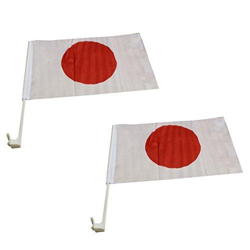 Sonia Originelli 2er Set Auto Flagge Fahne WM Länder Fußball Fan Farbe Japan