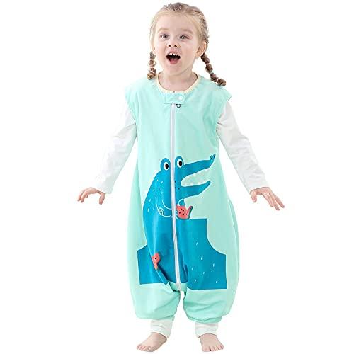 Riou Baby Winter Schlafsack mit füßen, Mädchen Junge Flanell Warm Babyschlafsack ohne Ärmel mit Beinen Overall Schlafanzug (1-3 Jahre, Rosa)