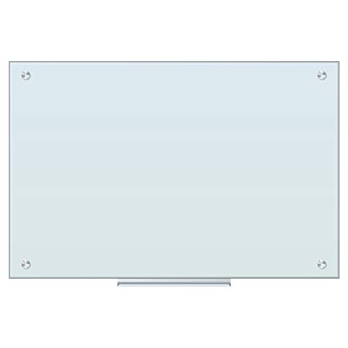 U Brands Magnetic Glass Dry Erase Board, Only for Use with HIGH Energy Magnets, 35 x 23 Inches, White Frosted Surface, Frameless (2298U00-01)