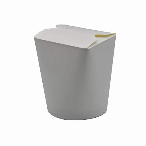 Pack & Cup Bio Asia-Box mit Faltdeckel, Einweg Döner-Box für Fingerfood White 500 ml 30 Stück