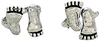 The Bling Stores Cute Stylish High Demand Toe Shape German Silver Oxidized Toe Rings for Women & Girls (1 Pair)