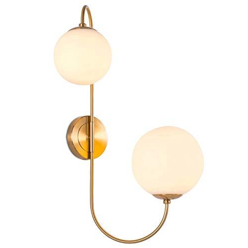 Licht luxe LED glazen wandlamp Moderne slaapkamer bedlampje model woonkamer TV muur studie garderobe decoratie verlichting [energieklasse A ++]