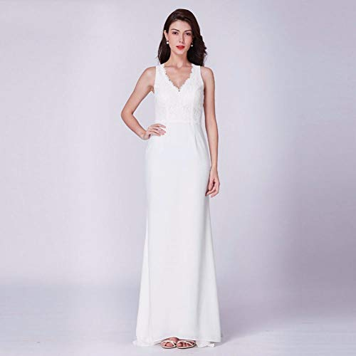 BGGYF Hochzeitskleid Brautkleid Ankunft Elegante Ballkleider Einfach Eine Linie V-Ausschnitt Kleiner Zug Ärmellose Spitze Vintage Brautkleider Korsett