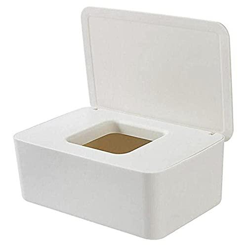 Caja de almacenamiento de toallitas húmedas a prueba de polvo con tapa Caja de almacenamiento de pañuelos de escritorio para el hogar Dispensador de toallitas húmedas portátil-Blanco, China