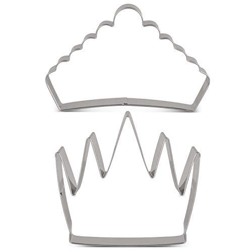 KENIAO Lot de 2 emporte-pièces en forme de couronne de roi et de princesse en acier inoxydable