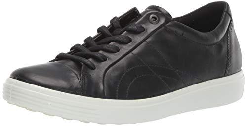 ECCO Women's Soft 7 Stitch Tie Sneaker, Black, 9-9.5