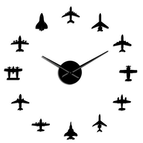 Fighter Reloj de Pared Grande DIY acrílico Efecto Espejo Pegatina avión silencioso Reloj de Pared Aviador decoración del hogar Negro 47 Pulgadas