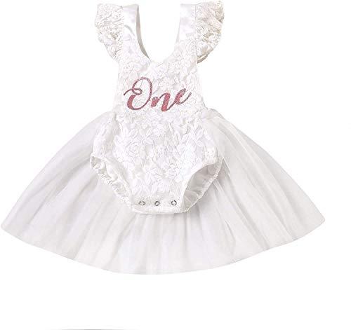 Baby Girl My 1st Birthday Outfits One Year Lace Rüschen Kurzarm Strampler Tutu Kleid Sommer Kleidung Gr. 90, Weiß