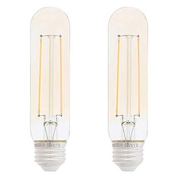 Amazon Basics 40 Watt Equivalent Clear Amber Dimmable T10 LED Light Bulb | 2-Pack