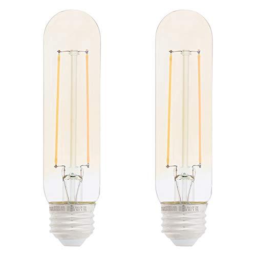 AmazonBasics 40 Watt Equivalent, Clear, Amber, Dimmable - T10 LED Light Bulb, 2-Pack