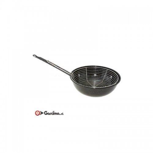 La Ideal 20920 - Sartén esmaltada con cesta (20 cm), color negro