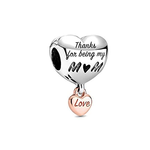 Mmxhn Lindo niño y niña para siempre árbol genealógico de bloqueo de corazón cuentas para adaptarse a los encantos originales de Pandora plata 925 pulsera DIY joyería de las mujeres