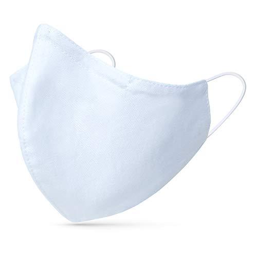 tanzmuster ® Behelfsmaske waschbar für Erwachsene - 100% Baumwolle OEKO-TEX 100 mit Nasenbügel und Filtertasche - Community Maske handmade und wiederverwendbar 2-lagig in weiß Größe M Erwachsene