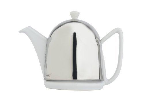 Bredemeijer Teekanne Cosy Manto, 1.0 Liter, Feder, Aus Keramik, Weiß mit Isolierten Schale