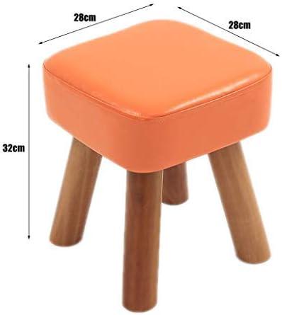 Tabouret Repose Pouf Tabouret Tissu - Repose-Pieds Change Banc Chaussures Pieds en Bois Récurable Pied Tabourets Place Assise Confortable Chaise Rembourrée Salon,Orange Pink