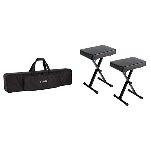 Yamaha Soft Case for 88-Key P-Series Digital Pianos & PKBB1 Adjustable Padded Keyboard X-Style Bench, Black,19.5 Inches