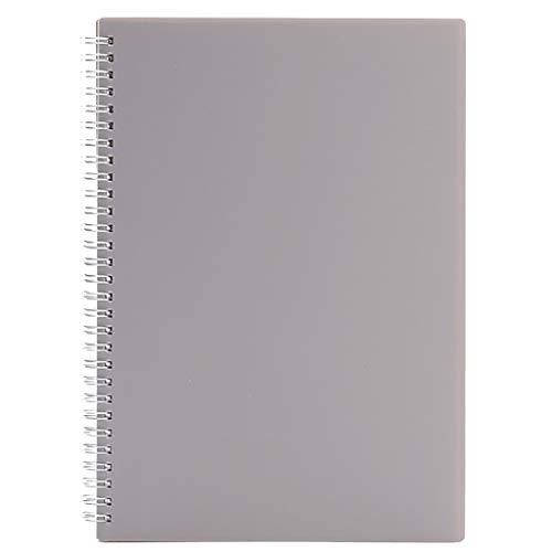 Dongxiao Cuaderno A5 de cuero nobuck duro con alambre en espiral, cuaderno perfecto para planificar el trabajo escolar, papel grueso de 100 g/m² (color gris)