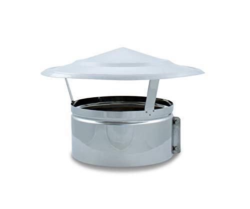 Sombrerete Fijo acero inoxidable para sistemas de ventilación y extracción, chimeneas y estufas de leña y pellet, autoconectable (500 mm)