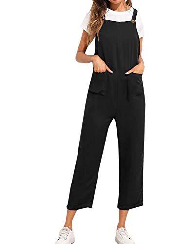 Kidsform Peto para Mujer Verano Retro Pantalones de Gran Tamaño Chic Mono sin Mangas con Bolsillos Sueltos Slim