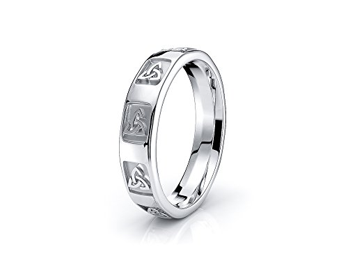 Alganati 10K White Yellow Gold Trinity 4mm Celtic Knot Wedding Band Rings
