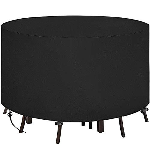 Xiliy Funda para Redonda Muebles de Jardín Impermeable Funda para Redonda Mesa para Mobiliario de Exterior Mesa Negro Ø128X71CM