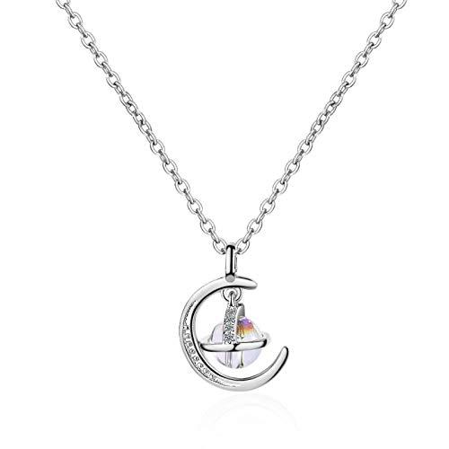 WDBUN Collar Colgante Collar de Luna de Oro fantástico Universo Redondo Planeta Colgante Collar joyería para Mujer Navidad Día de la Madre día de San Valentín cumpleaños Regalo