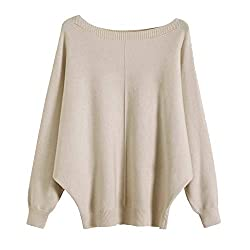 Image of GABERLY Boat Neck Batwing Sleeves Dolman Knitted Sweaters and Pullovers Tops for Women: Bestviewsreviews