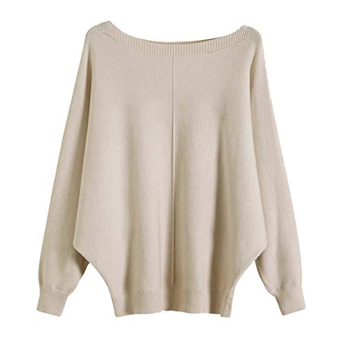 GABERLY Boat Neck Batwing Sleeves Dolman Knitted Sweaters and Pullovers Tops for Women (Beige-2, One Size)