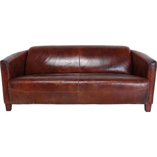 Kare Design Sofa Cigar Lounge, moderne Ledercouch aus Top Grain Rindsleder, bequemes 2Sitzer/3Sitzer Ledersofa, Cognacfarben, Kolonial Ledersofa (H/B/T) 70x176x83cm