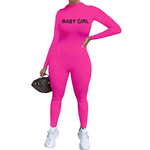 Mono de mujer ajustado de manga larga estampado con letras para deporte, correr, gimnasio, yoga, running fitness, colores vivos fucsia M