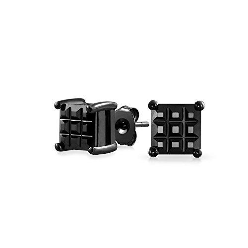 1CT schwarz auf schwarz auf schwarz unsichtbar geschnitten Platz CZ Checkboard Kubische Zirkonia Prong Korb Set Ohrstecker Sterling Silber