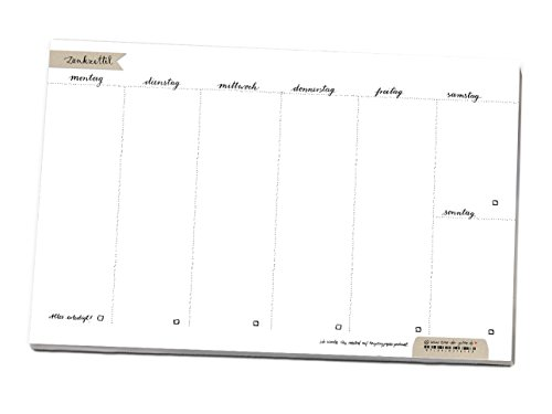 A4 Wochenplaner Denkzettel, prima als Tischkalender, Essensplan, Organiser für To-dos & Aufgaben, vielseitiger Wochenplan Weiß, schlicht, Kalligrafie, Abreißblock, Terminplaner und Erledigungen