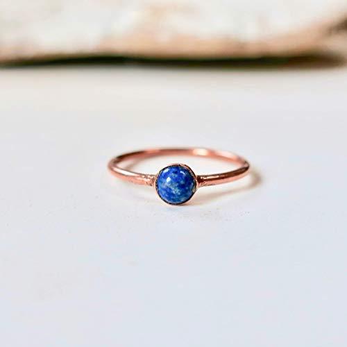Dainty Lapis Lazuli Ring, Electroformed Lapis Lazuli and Copper Ring, Lapis Lazuli Jewelry