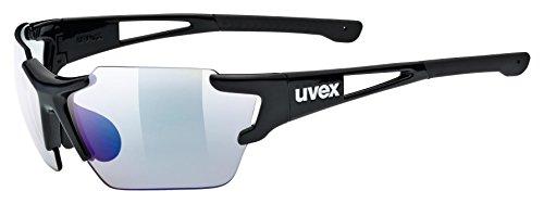 uvex Unisex– Erwachsene, sportstyle 803 race V small Sportbrille, selbsttönend, schmale Passform, black/blue, one size