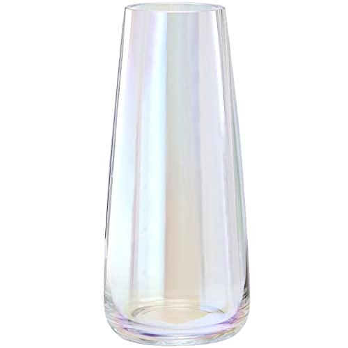 Vase aus Glas, Hoch Klarglas Konische Vasen, Blumenvase Dekorative mit Massivem Eisboden, Ins Style Glasvase Vase Behälter für Home Office Dekor, 10x6.5x22CM, Magische Farbe