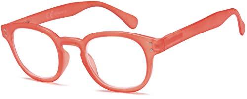 Newvision - Gafas de lectura Presbicia para mujer y hombre, estilo unisex, montura efecto mate, gafas redondas vintage, cremallera de muelle de metal, NV3107 (+2.50, naranja)