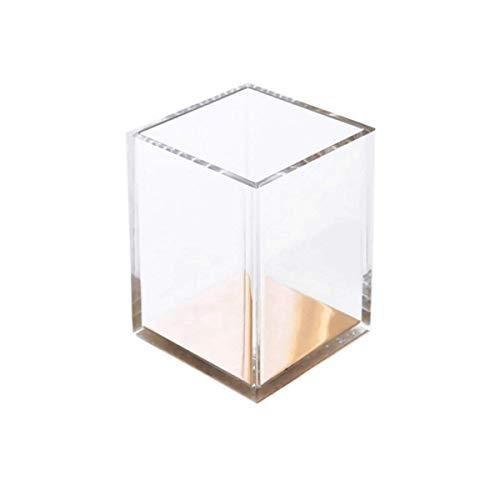 Yhtech Sostenedor de la pluma, inferior sostenedor de la pluma de almacenamiento de escritorio cuadrada de acrílico oro de la moda simple y transparente, caja de almacenamiento de pincel de maquillaje