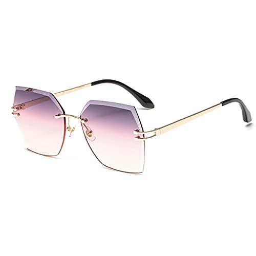 JINZUN Gafas de Sol de Metal sin Montura Gafas de Sol con Personalidad Borde Cortado Pieza oceánica sombrilla Espejo protección UV Degradado Rojo púrpura