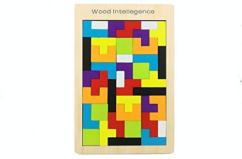 babyGreen Tetris del Juguete Madera, Puzzle Rompecabezas Madera Juego Educativo Juguete Colorido de Madera Geometría Rompecabezas Tangram Jigsaws para Niños Regalos (Juguete)