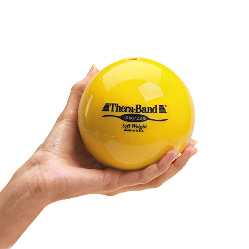 TheraBand Soft Weight, 4.5' Diameter Hand Held Ball Shaped Isotonic Weighted Ball for Isometric Workouts, Strength Training and Rehab Exercises, Shoulder Strengthening and Surgery Rehabilitation, Yellow, 2.2 pound