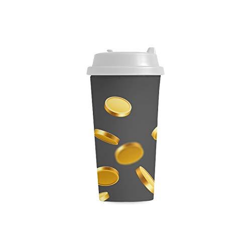 Dinero Volando Monedas de oro Personalizado 16 oz Doble pared Plástico Aislante Deportes Botellas de agua Tazas Viajeros de viaje Tazas de café para mujeres estudiantes Leche Taza de té Bebida