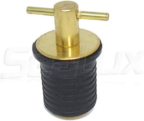 SEACHOICE Twist-Turn 1.25-Inch Marine Boat Brass Drain Plug with Neoprene seal